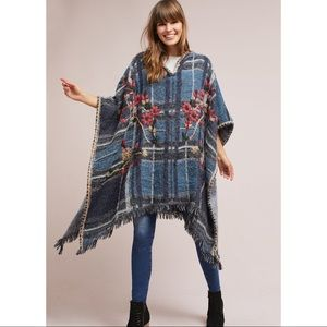 Anthropologie Embroidered Plaid Poncho